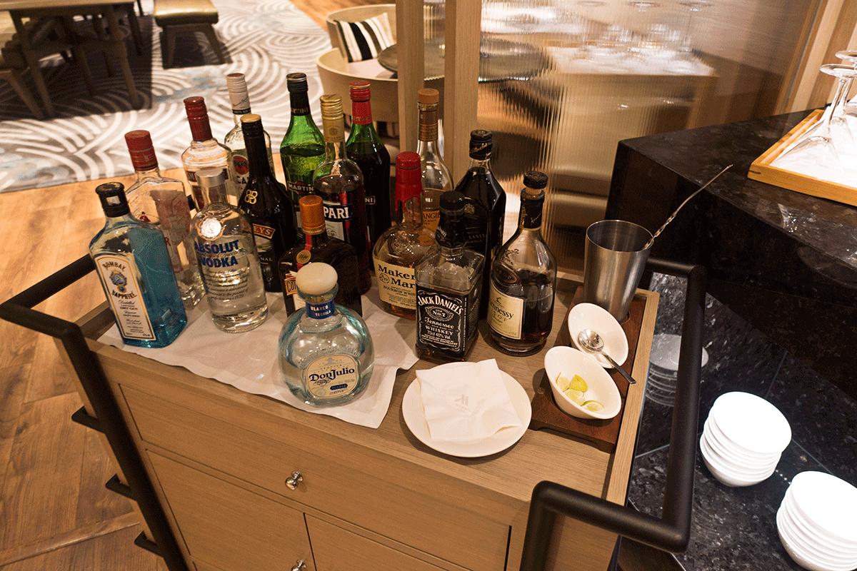 台北マリオットホテルのエグゼクティブラウンジ アルコール類