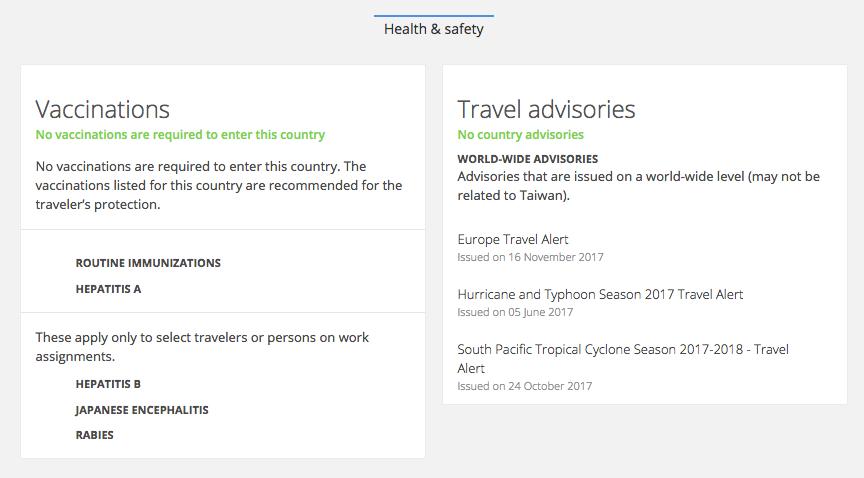 台湾での健康や安全について