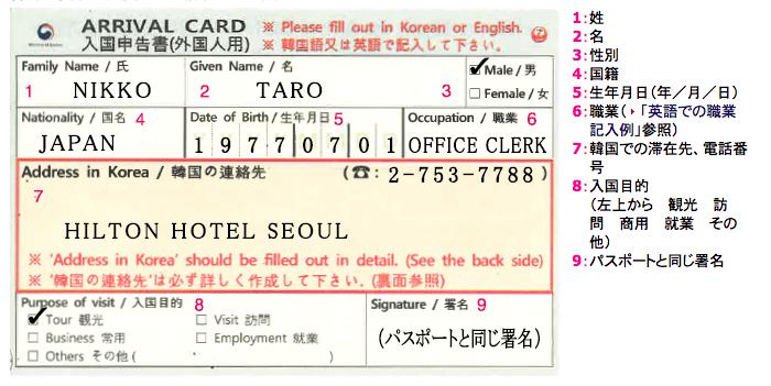 韓国の入国カードの書き方