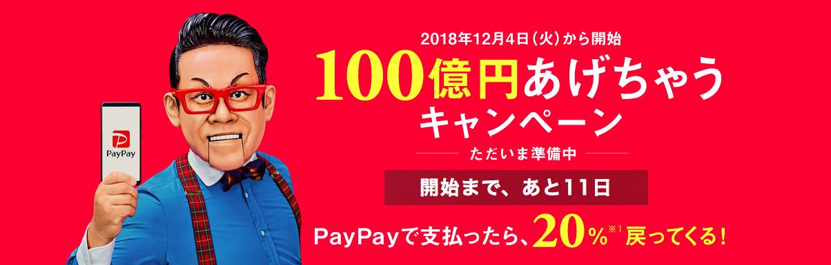 PayPayの100億円あげちゃうキャンペーン