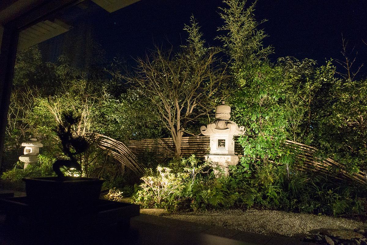 デラックスガーデンルームから見る夜の庭園