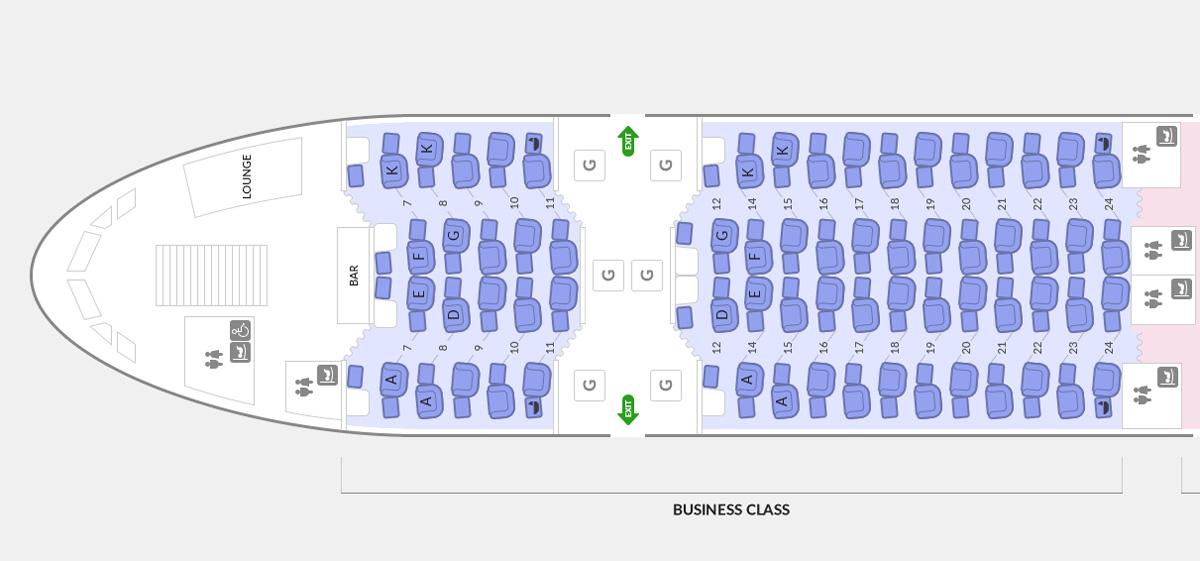 アシアナ航空A380ビジネスクラスのシートマップ