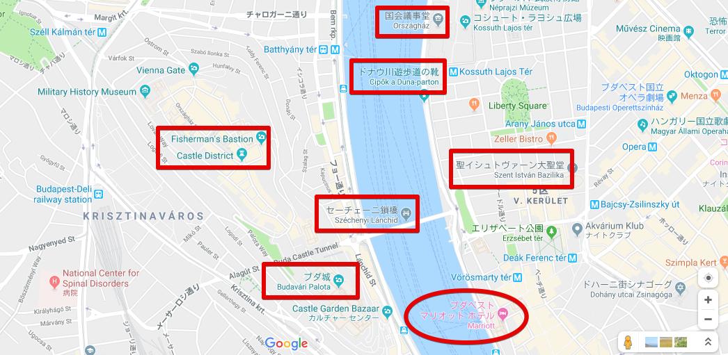 ブダペストマリオットホテルの周辺地図