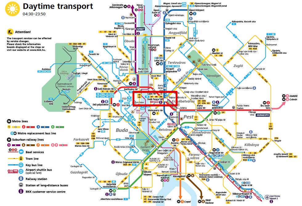 ブダペスト路線図